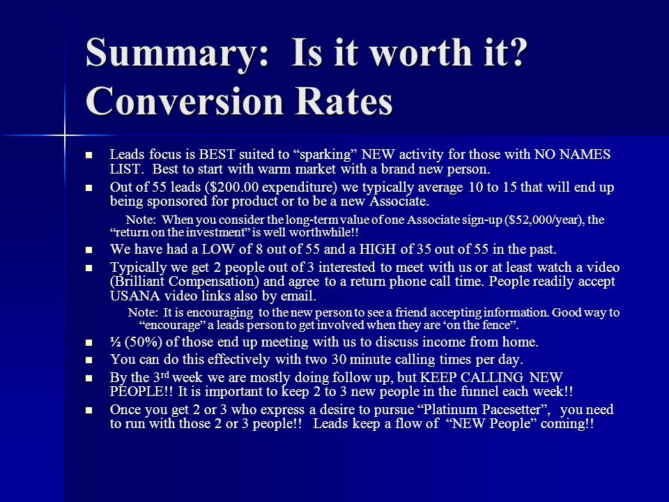 Summary: Is it worth it Conversion Rates