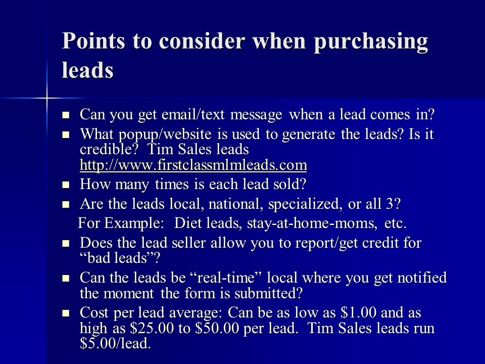 Points to consider when purchasing leads