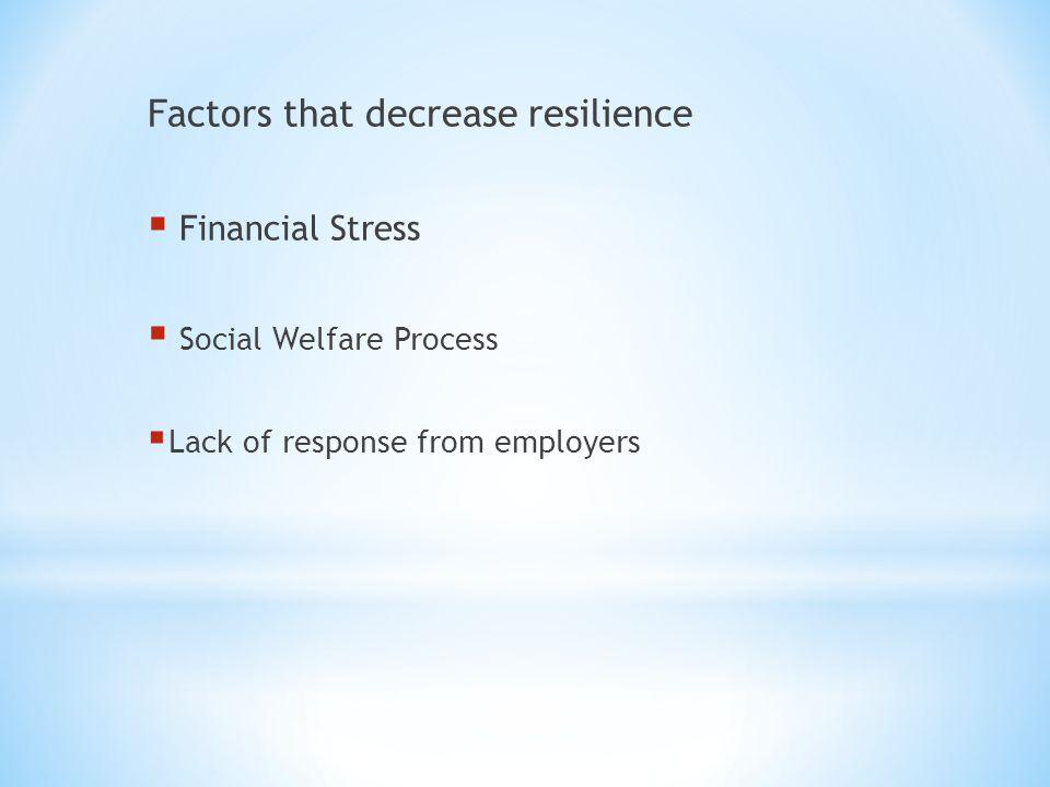 Factors that decrease resilience