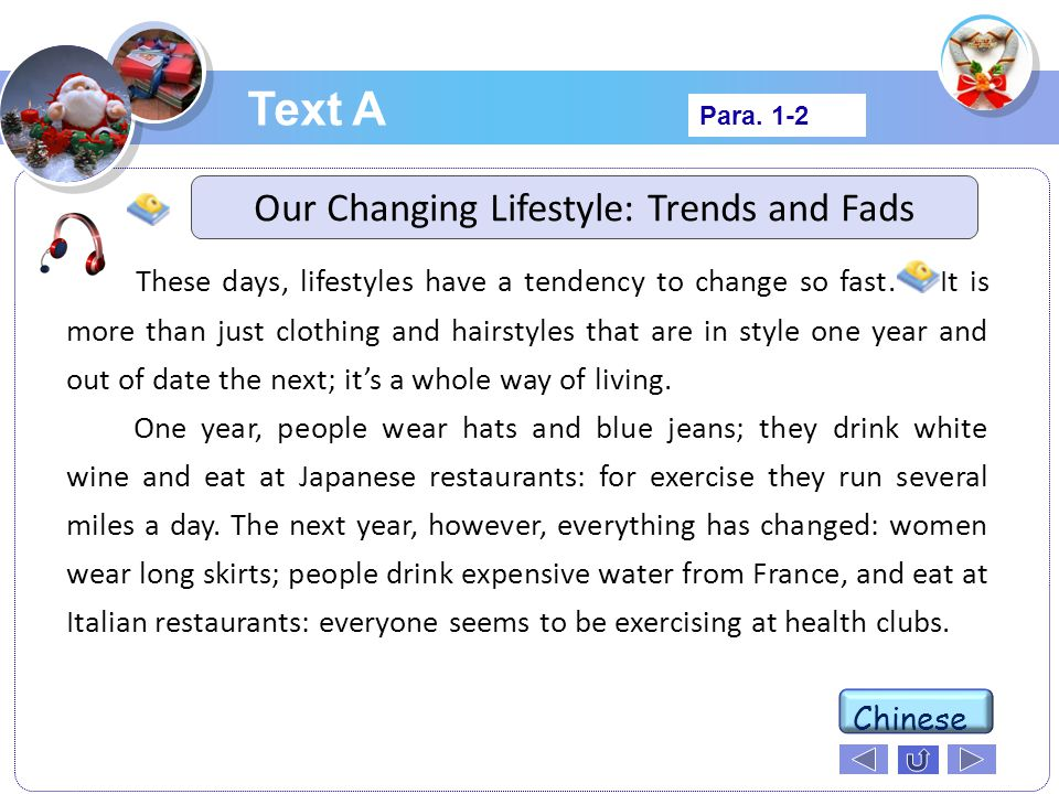 Our Changing Lifestyle: Trends and Fads