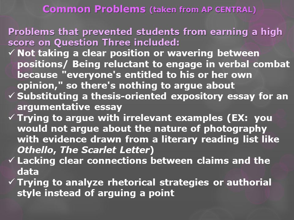 Common Problems (taken from AP CENTRAL)