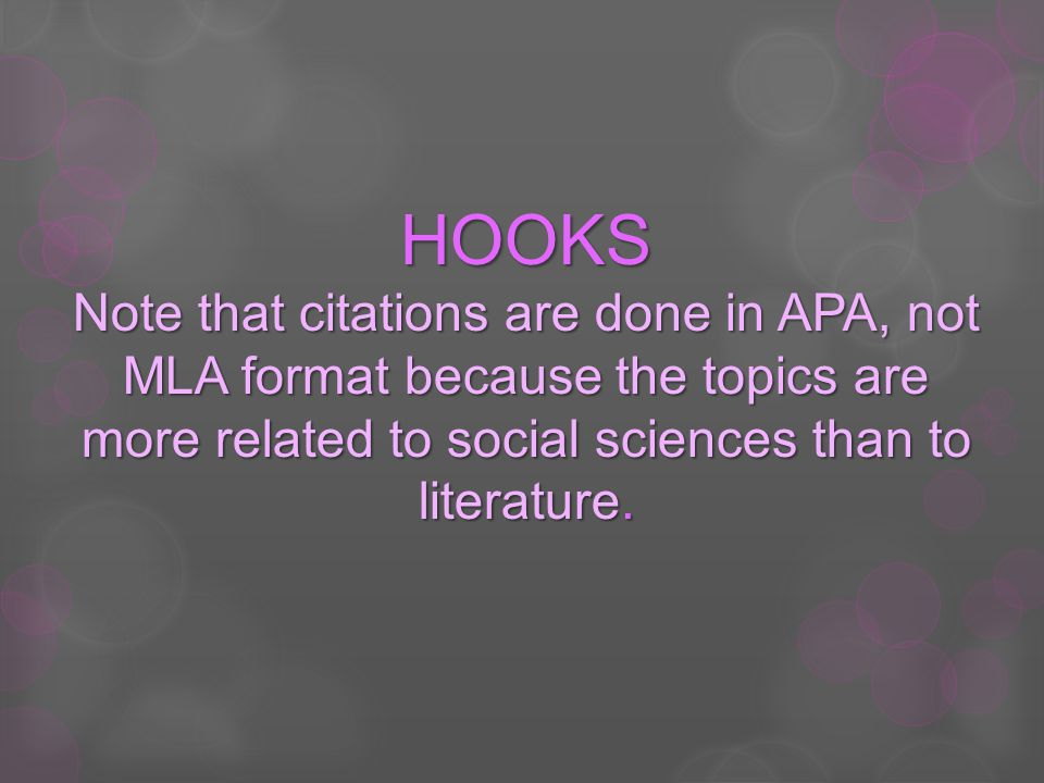 HOOKS Note that citations are done in APA, not MLA format because the topics are more related to social sciences than to literature.