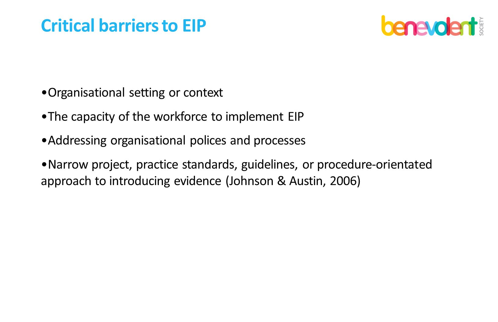 Critical barriers to EIP