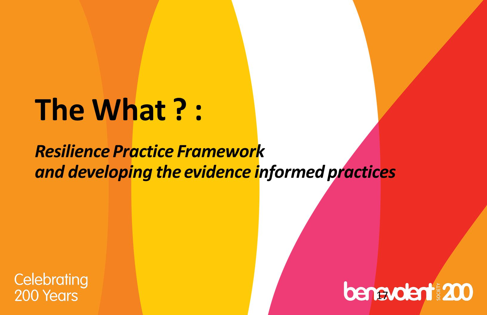 The What : Resilience Practice Framework and developing the evidence informed practices