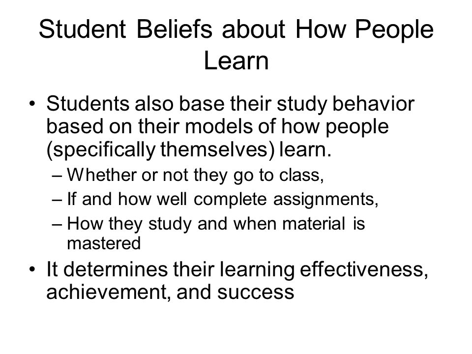 Student Beliefs about How People Learn