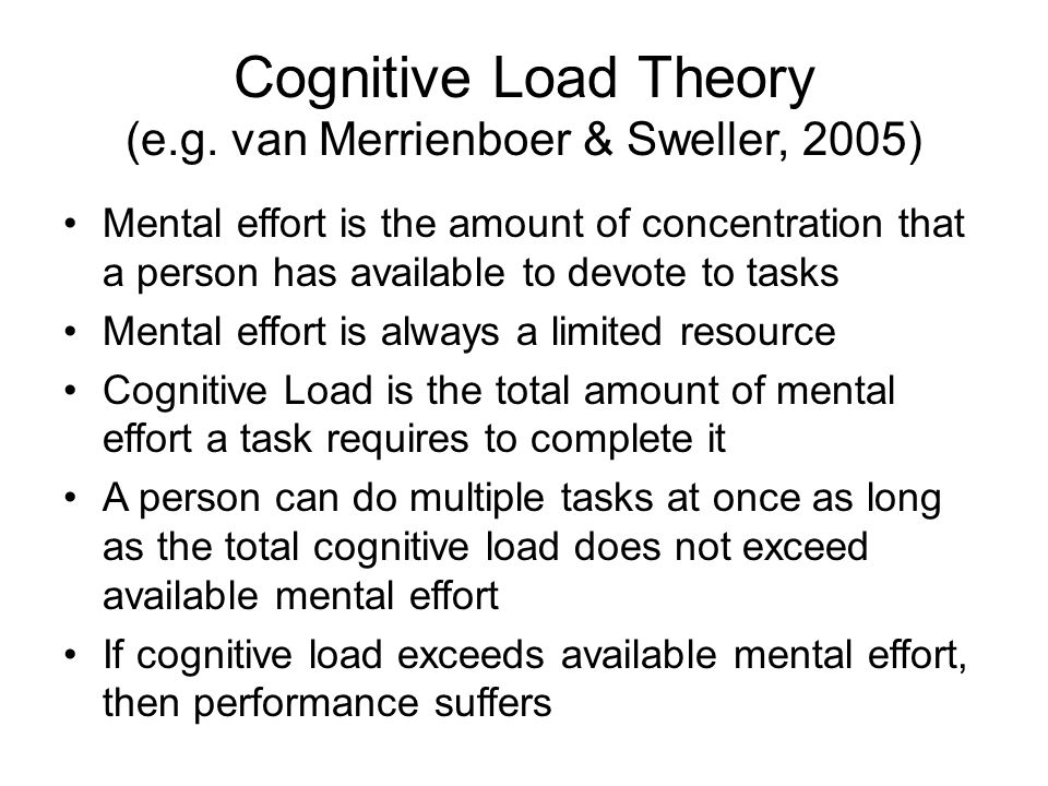 Cognitive Load Theory (e.g. van Merrienboer & Sweller, 2005)