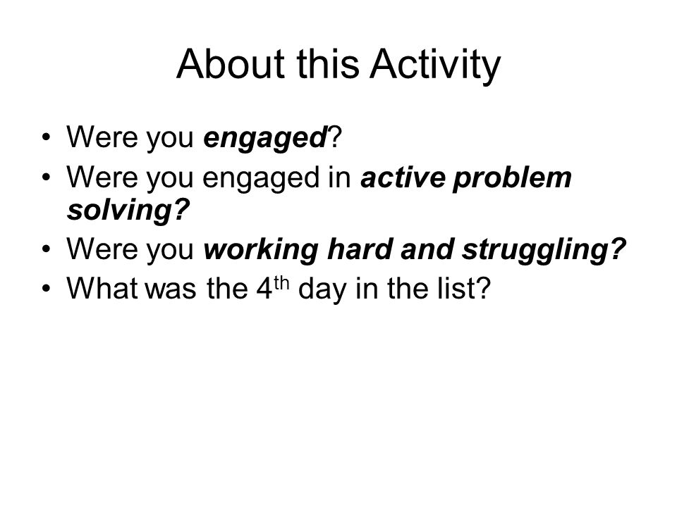 About this Activity Were you engaged