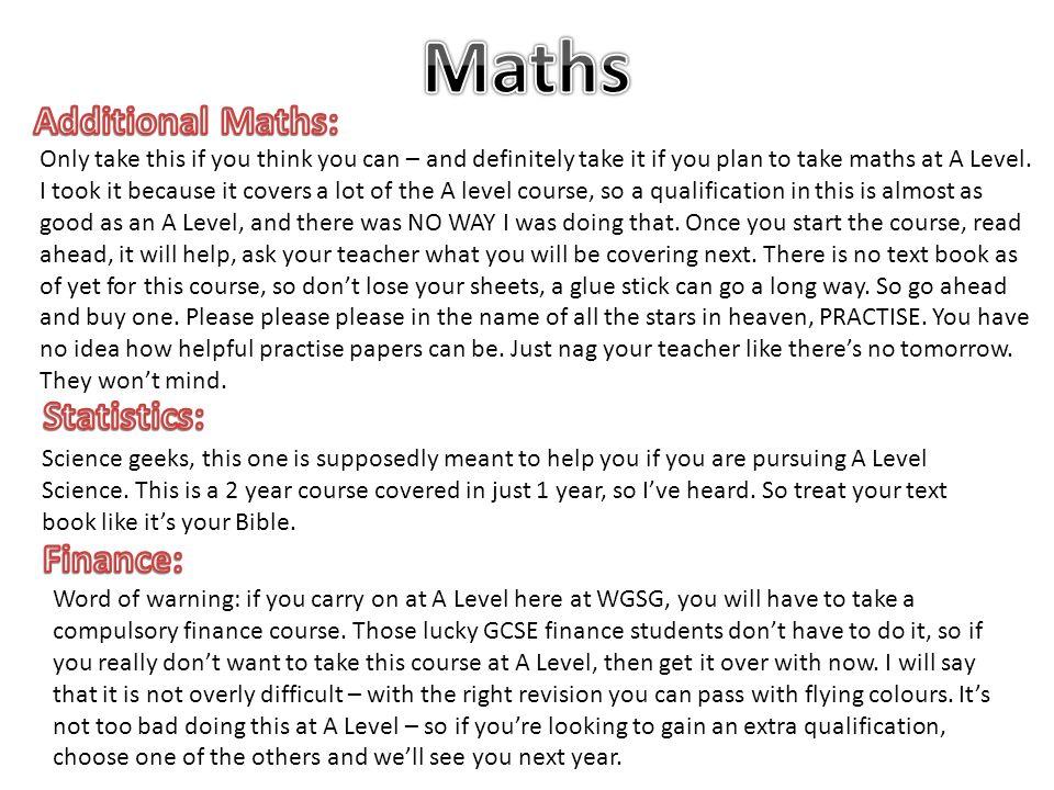 Maths Additional Maths: Statistics: Finance: