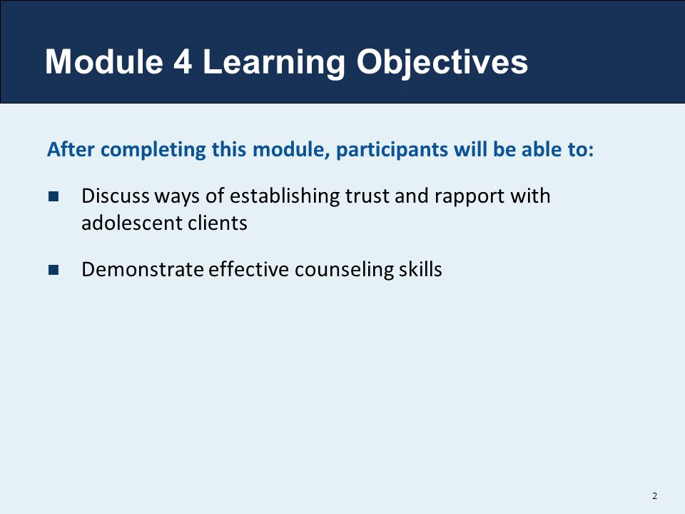 Module 4 Learning Objectives