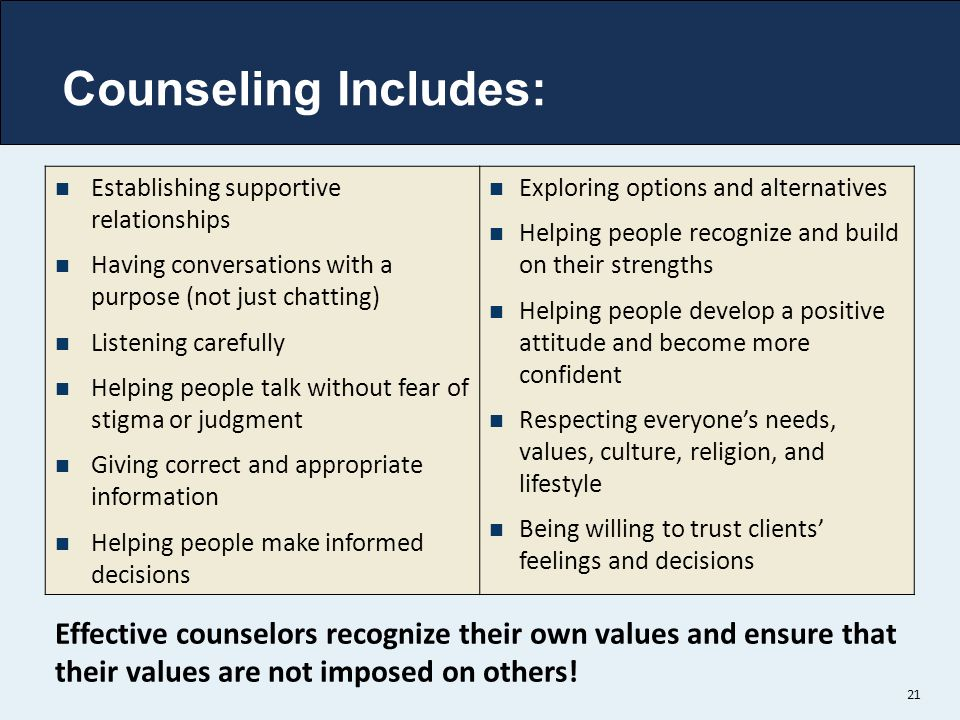 Counseling Includes: Establishing supportive relationships. Having conversations with a purpose (not just chatting)