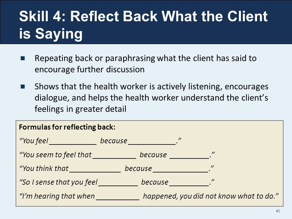 Skill 4: Reflect Back What the Client is Saying