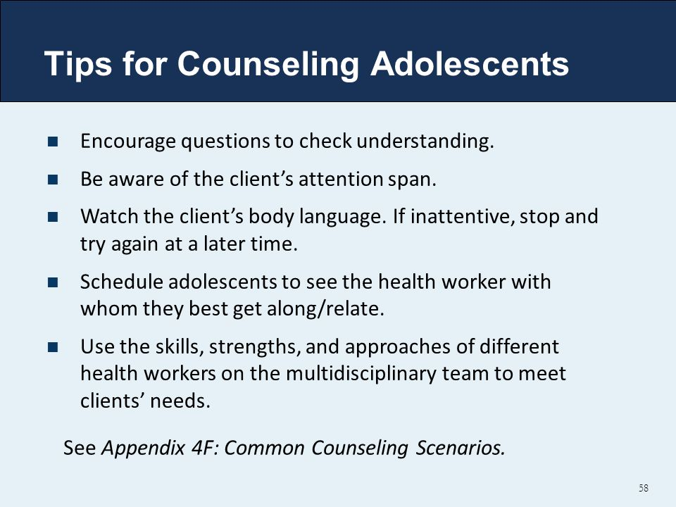 Tips for Counseling Adolescents