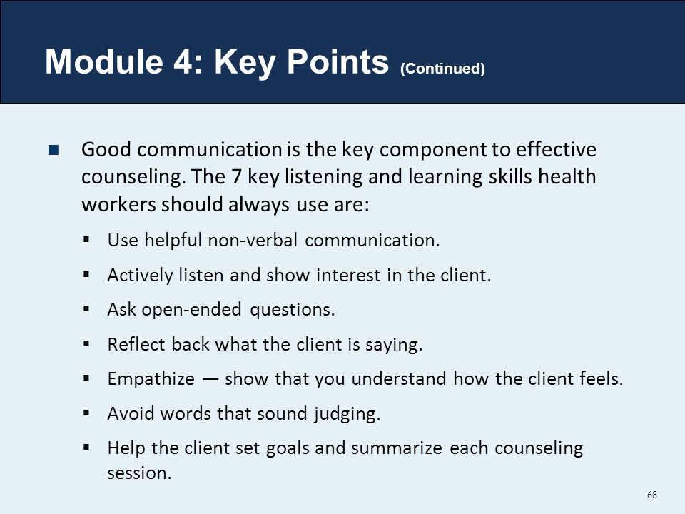 Module 4: Key Points (Continued)