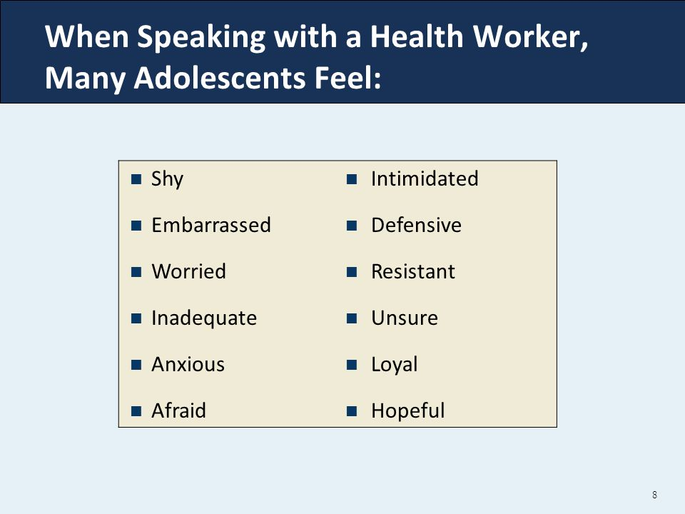 When Speaking with a Health Worker, Many Adolescents Feel: