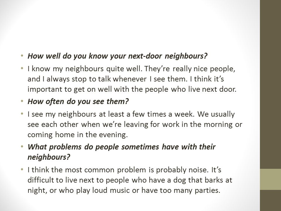 How well do you know your next-door neighbours