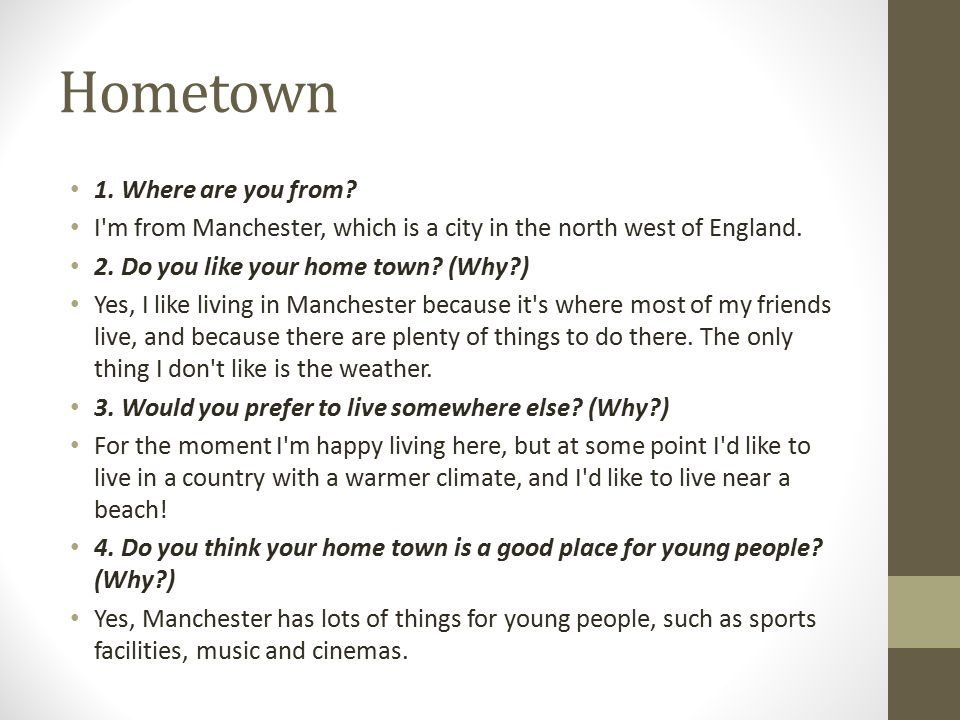 Hometown 1. Where are you from
