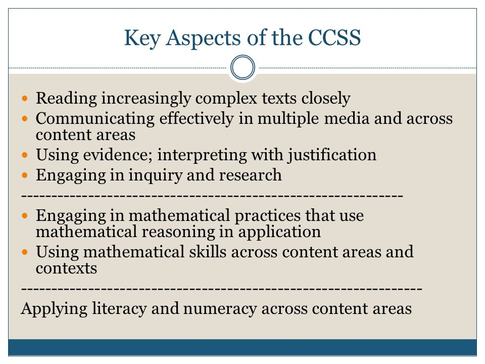 Key Aspects of the CCSS Reading increasingly complex texts closely