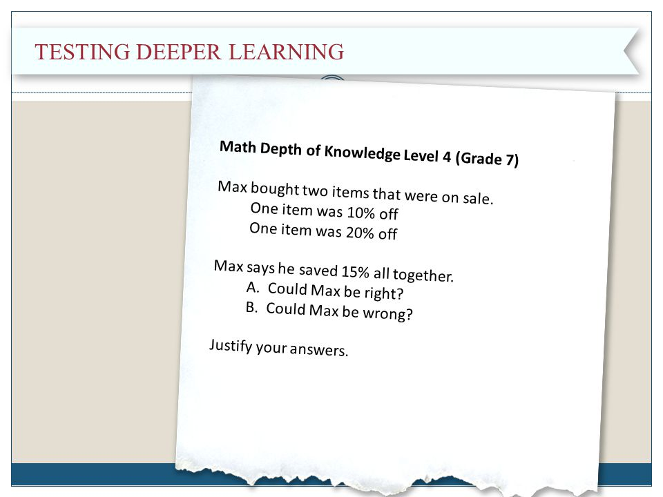 Testing Deeper Learning