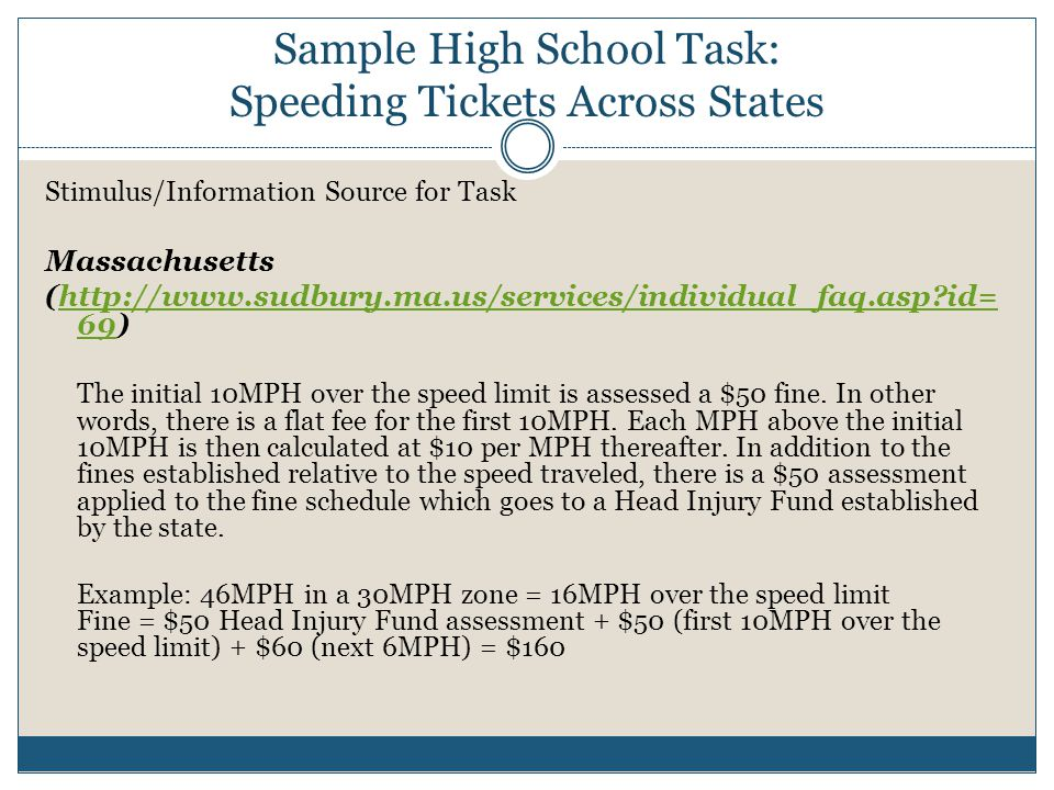 Sample High School Task: Speeding Tickets Across States