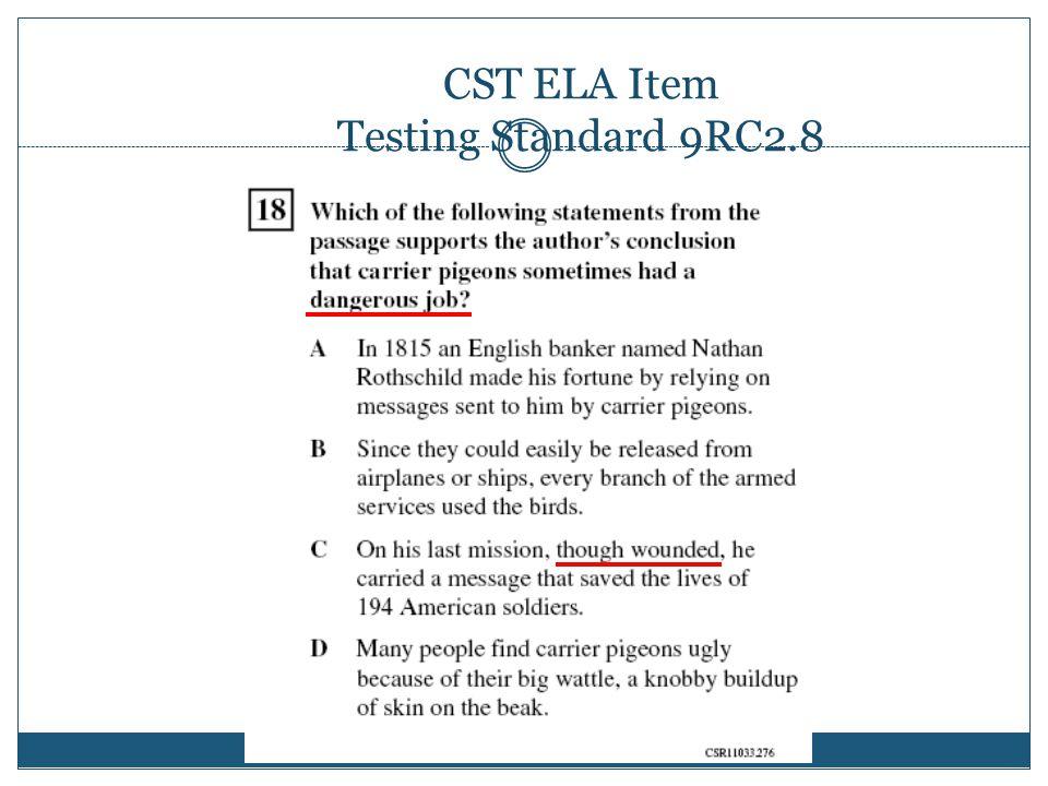 CST ELA Item Testing Standard 9RC2.8