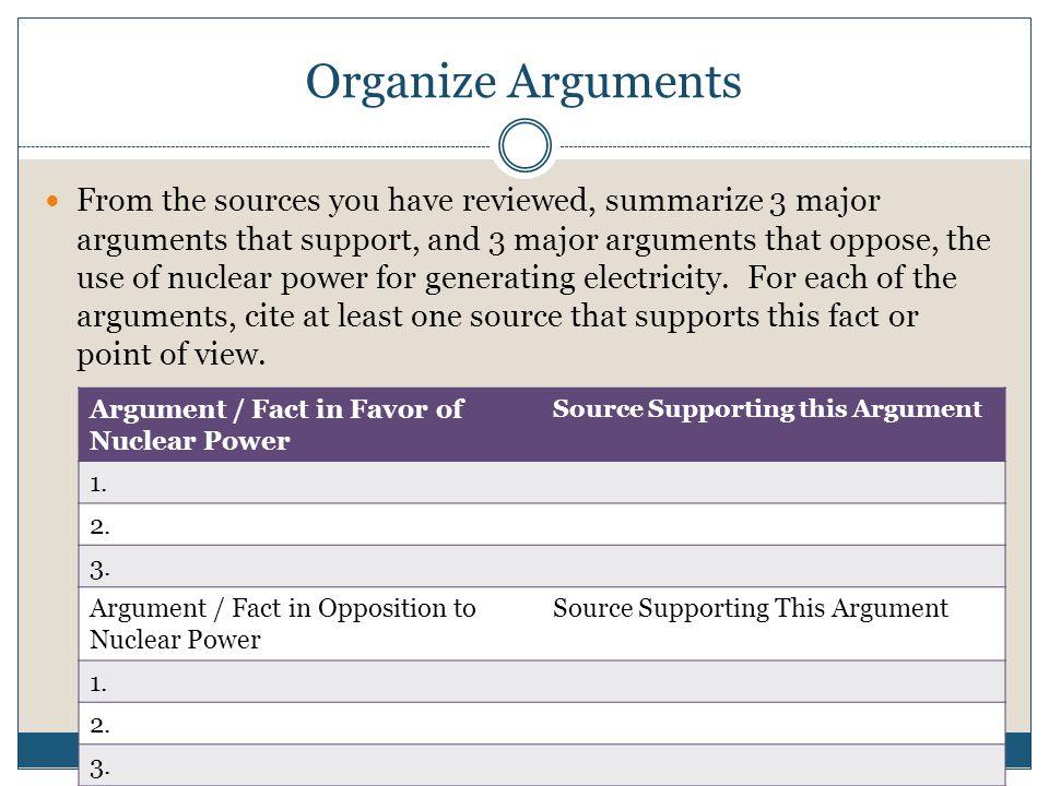 Organize Arguments