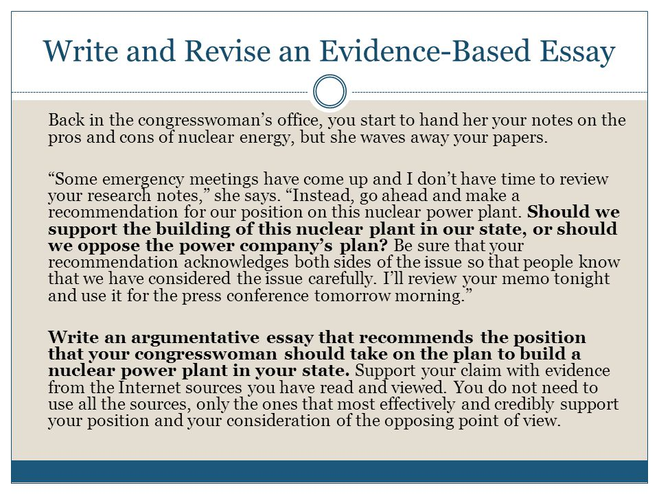 Write and Revise an Evidence-Based Essay