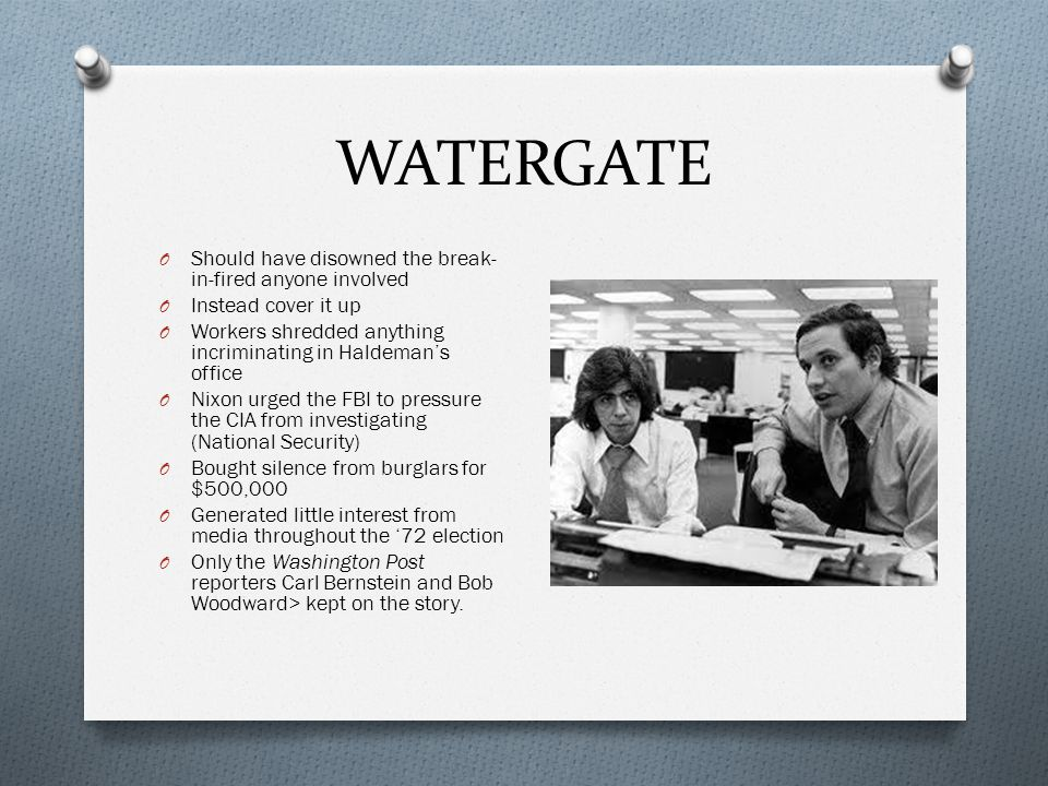 WATERGATE Should have disowned the break-in-fired anyone involved