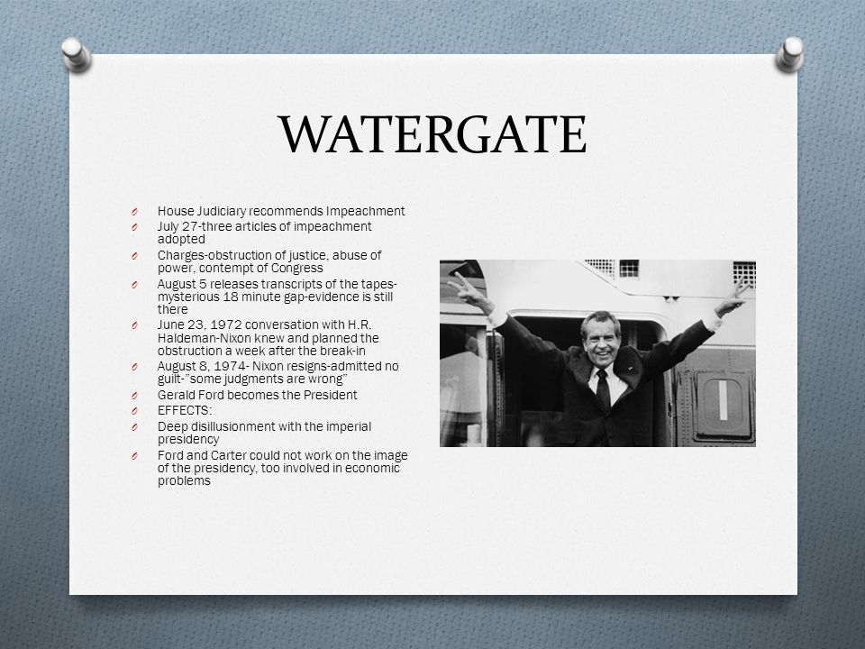 WATERGATE House Judiciary recommends Impeachment
