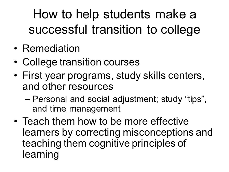 How to help students make a successful transition to college
