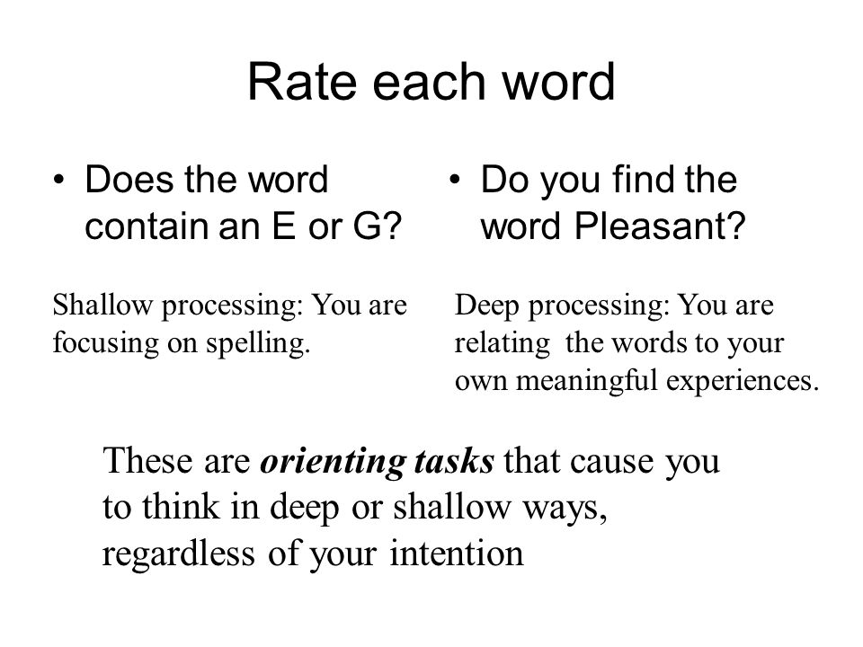 Rate each word Does the word contain an E or G