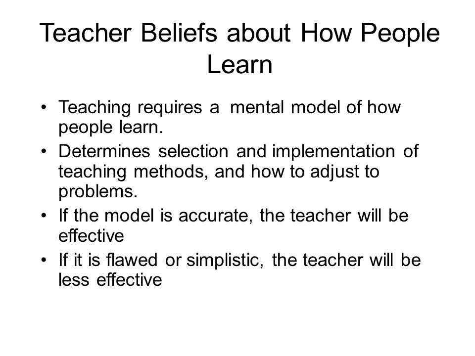 Teacher Beliefs about How People Learn