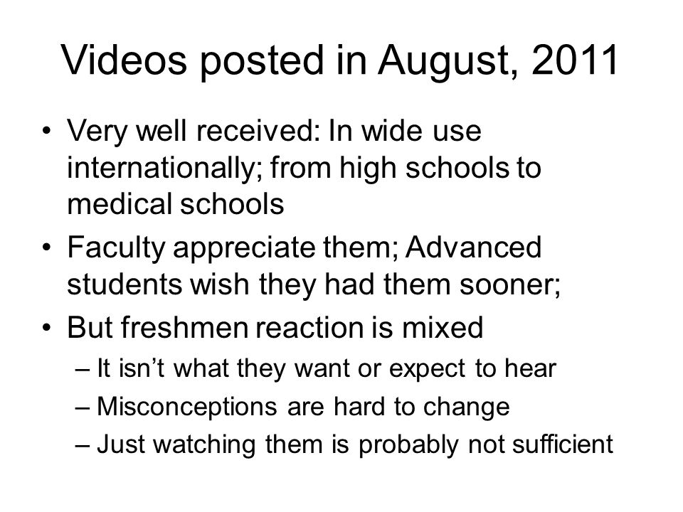 Videos posted in August, 2011