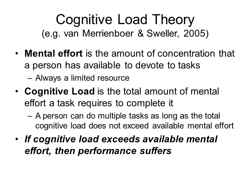 Cognitive Load Theory (e.g. van Merrienboer & Sweller, 2005)