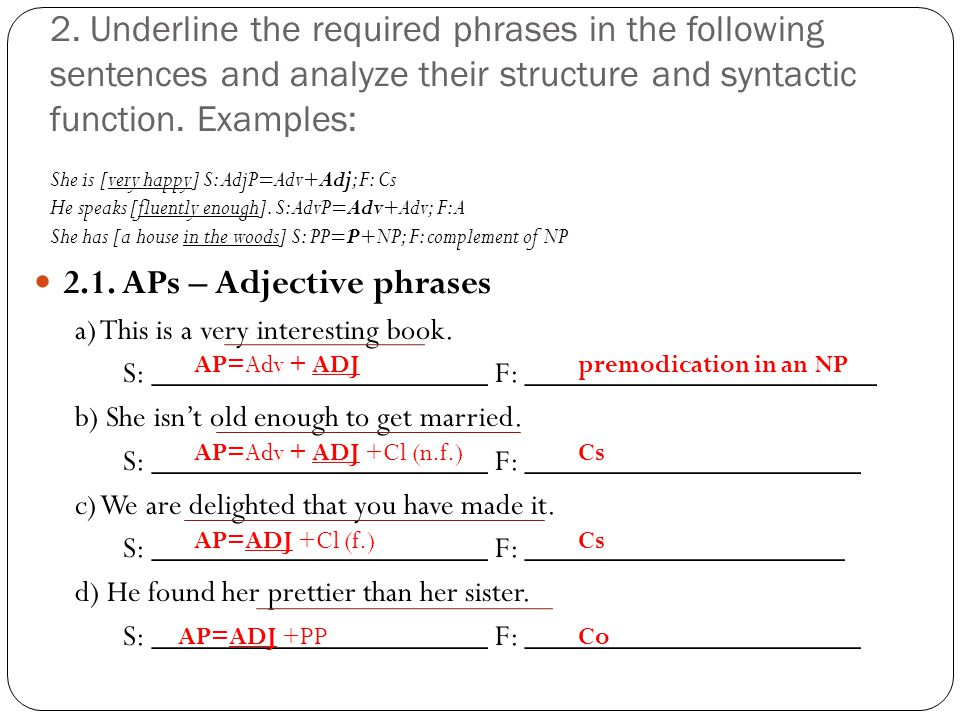 2.1. APs – Adjective phrases