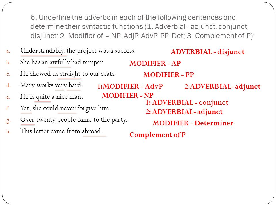 6. Underline the adverbs in each of the following sentences and determine their syntactic functions (1. Adverbial - adjunct, conjunct, disjunct; 2. Modifier of – NP, AdjP, AdvP, PP, Det; 3. Complement of P):