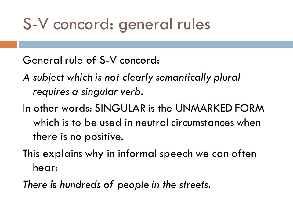 S-V concord: general rules
