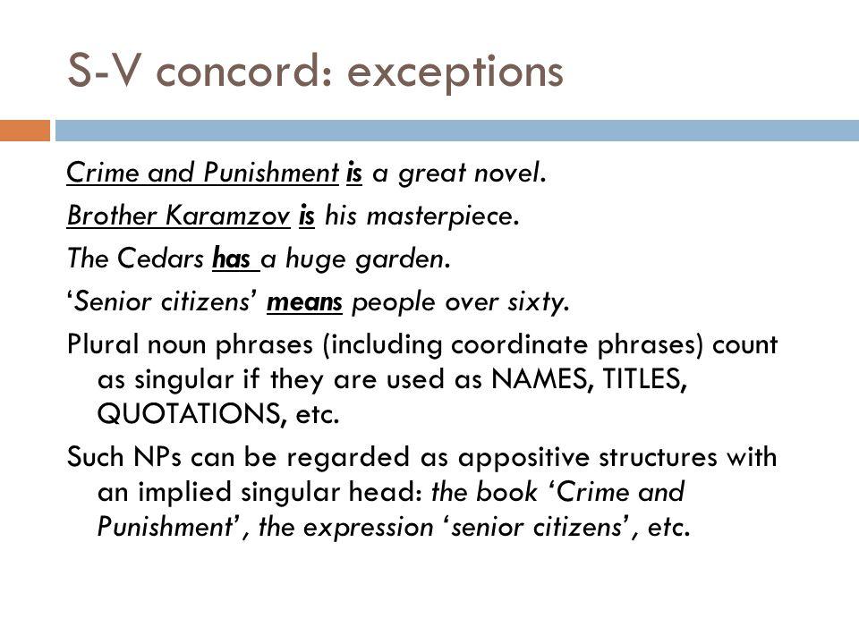 S-V concord: exceptions