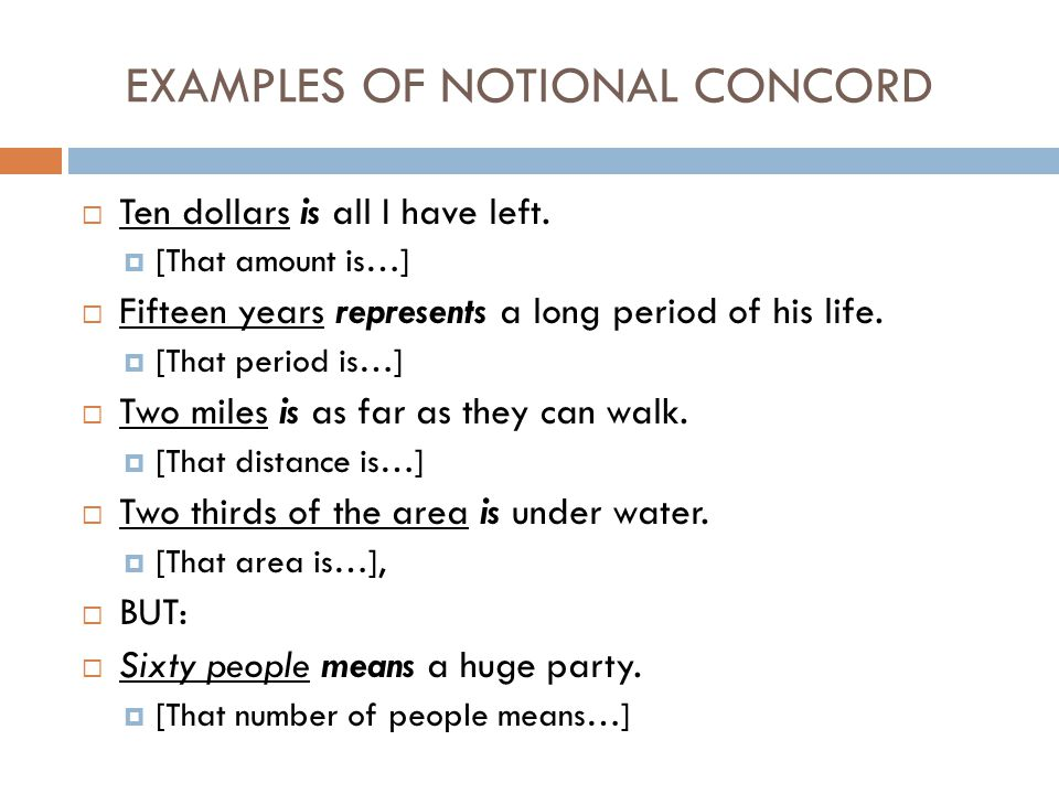 EXAMPLES OF NOTIONAL CONCORD