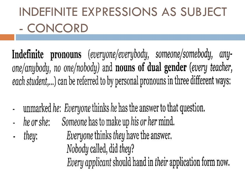 INDEFINITE EXPRESSIONS AS SUBJECT - CONCORD