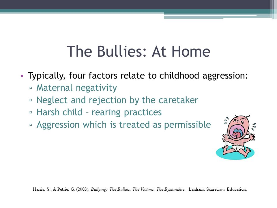 The Bullies: At Home Typically, four factors relate to childhood aggression: Maternal negativity. Neglect and rejection by the caretaker.