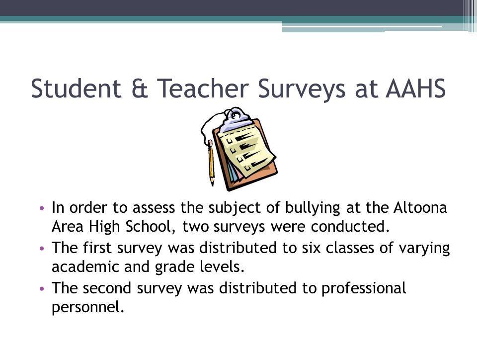 Student & Teacher Surveys at AAHS