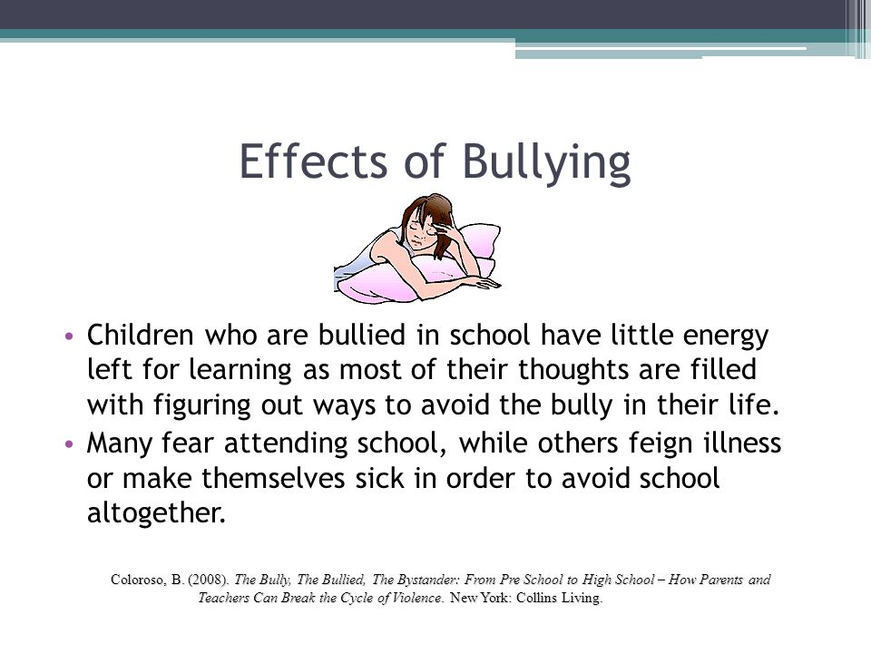 the effects of bullying The effects of bullying although there are three main groups that are affected by bullying - the students who are bullied, the students who bully and the bystanders who see it happen, bullying encompasses and affects the entire school community, families and friendship groups.