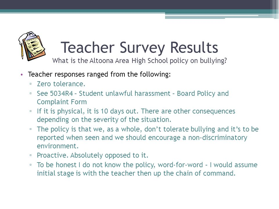 Teacher Survey Results What is the Altoona Area High School policy on bullying