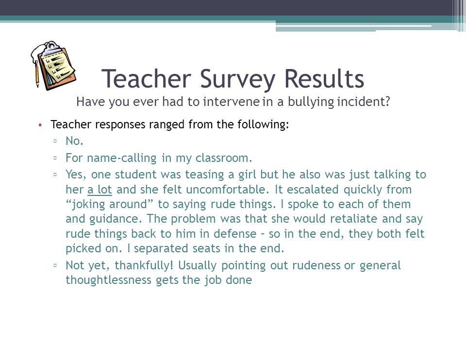 Teacher Survey Results Have you ever had to intervene in a bullying incident