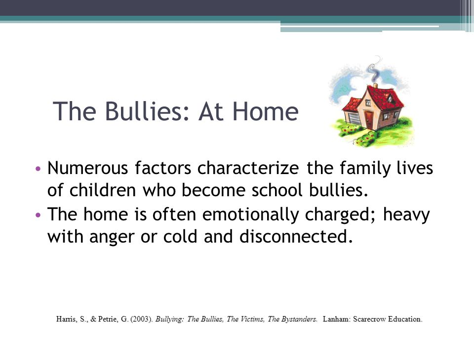 The Bullies: At Home Numerous factors characterize the family lives of children who become school bullies.