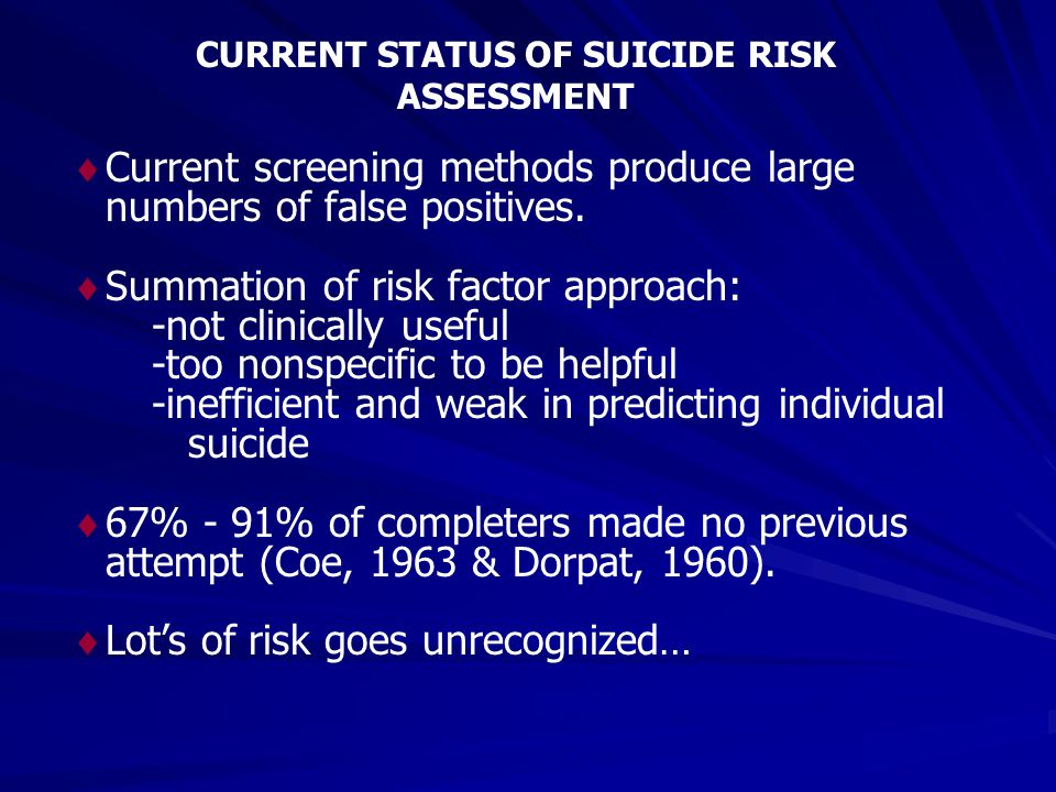 CURRENT STATUS OF SUICIDE RISK ASSESSMENT