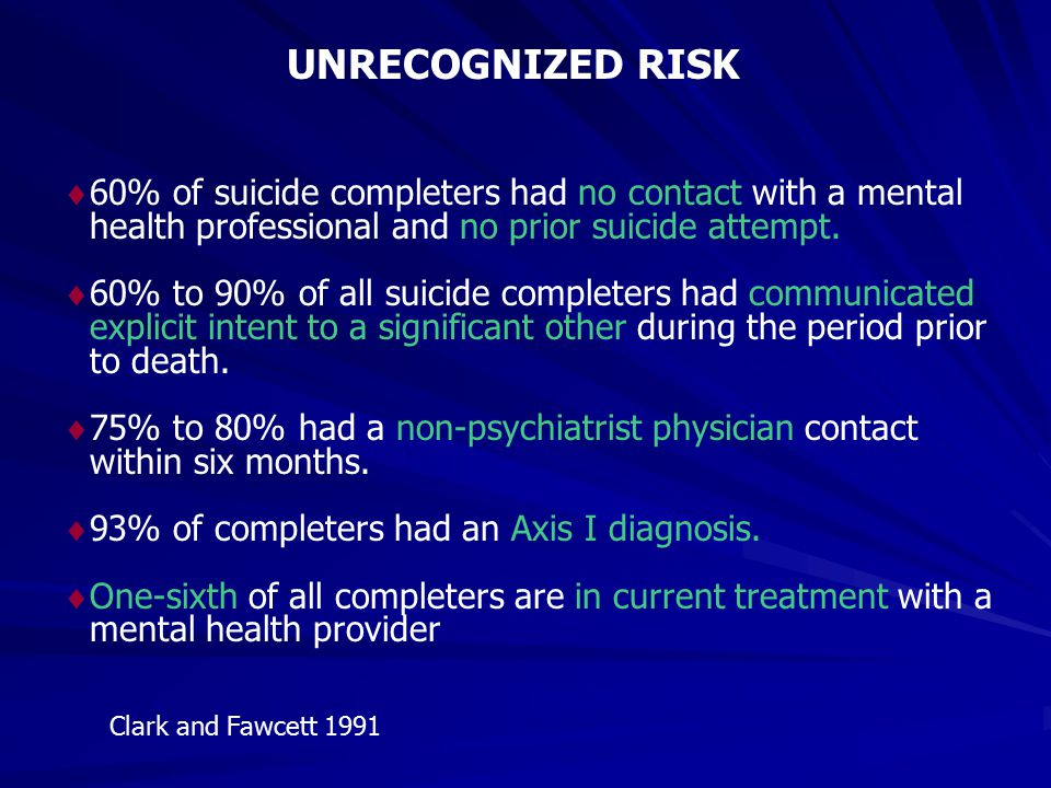 UNRECOGNIZED RISK 60% of suicide completers had no contact with a mental health professional and no prior suicide attempt.