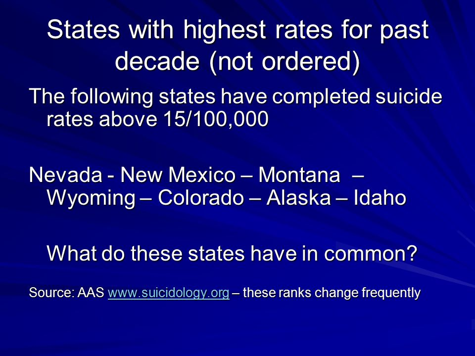States with highest rates for past decade (not ordered)