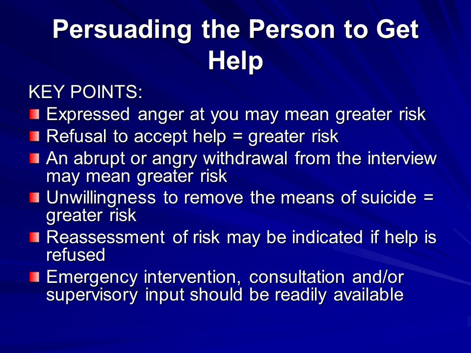 Persuading the Person to Get Help