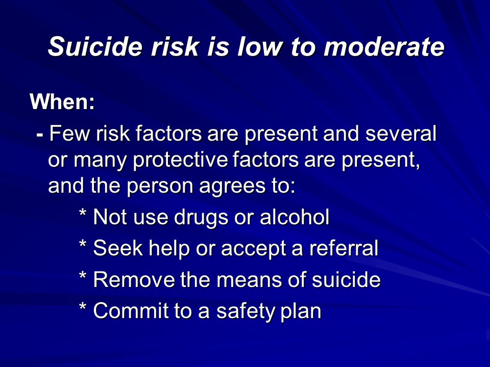Suicide risk is low to moderate